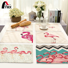 Cute Cartoon Creative Animal Flamingo Printed Table Napkin For Wedding Set Bowl Dining Mats Kids Table Set Flamingo Decoration(China)