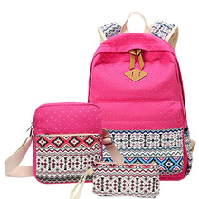 3 pcs/set Polka Dot Printing Women Backpack Cute Lightweight Canvas Bookbags Middle High School Bags for Teenage Girls