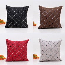 Home Sofa Bed Decor Plaids Throw Pillow Case Square Cushion Pillow Cover Pillowcase Square 45x45cm decorative(China)
