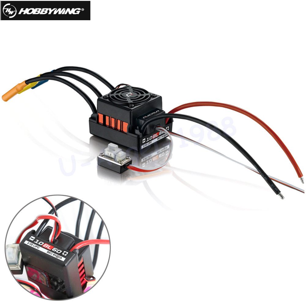 1pcs Original Hobbywing QuicRun-WP-10BL60 Sensorless Brushless Speed Controllers 60A ESC for 1/10 Rc Car<br>