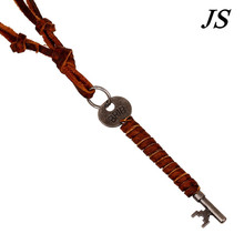 JS 2016 Lovely Thin Antique Silver Key Necklace Long Leather Cord Rope Neclace Handmade Vintage Jewelry for Men Women LN046