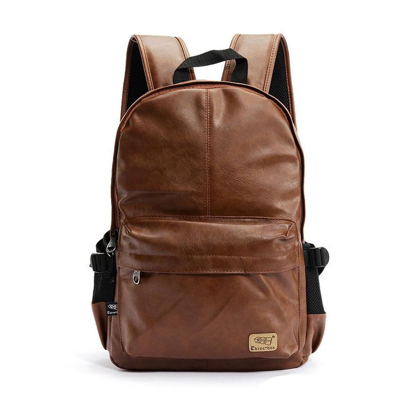 2017 high quality brand fashion black leather mens backpacks preppy style brown women backpack bolsas mochila feminina P36<br><br>Aliexpress