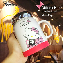 Super Kawaii Hello Kitty Mug with Mirror Lid Anime Ceramic Coffee Tea Mug for Girl Maid Children Gift
