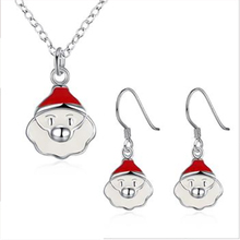 Santa Claus Saint Nicholas Father Christmas new year celebration xmas santa necklace earring jewelry sets jewellery silver(China)