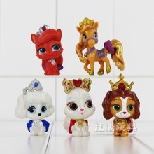 Disney Cartoon Cute Princess Palace Pets With Crown PVC Action Figure Dolls Figure Model Kids Toys 5Pcs/Lot Birthday Gifts(China)