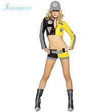 JIZHENGHOUSE Race Car Costumes Uniforms Sexy Race Car Driver Halloween Costumes Women 2 piece Crop Top With Shorts Game Cosplay(China)