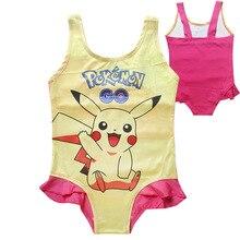 2018 summer children Cartoon pokemon go Beach Dress Girl's outdoor swimsuit pikachu cotton cute Bikini swimsuit clothes Costumes