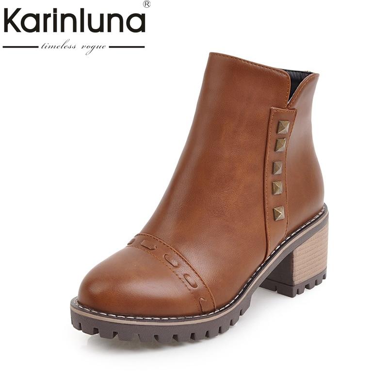 KARINLUNA 2017 Plus Size 34-43 Add Plush Autumn Winter Western Boots Fashion Platform Square Heels Rivets Women Shoes Black<br>