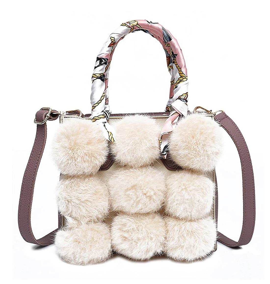 Winter Plush Fur PU Leather Colorfull Ribbon Top Handle Bag For Women New Fashion Ladies Handbag Shoulder Bags<br>