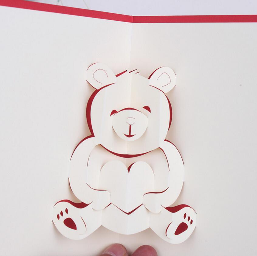 10 Stücke 3D Kreative Niedlichen Tier Bär Handgemachte Kirigami Origami  Hochzeit Einladungskarten Greeding Geburtstag Postkarte