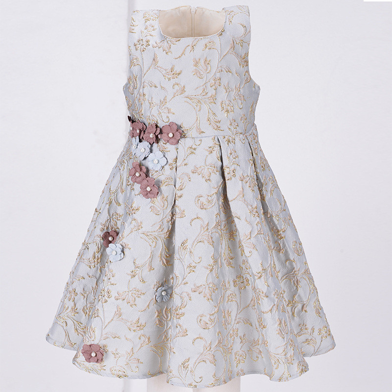 2017 Sweet New Kids Formal Flower Vest Dress Children Clothing Sleeveless Summer Dress Girls Pearl Floral Pattern Vest Vestido<br>