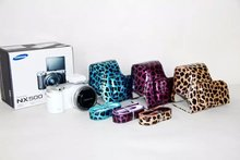 2015 New Leopard Skin PU Leather Camera Case Bag Cover for Samsung NX500 with Strap 3 colors ( Blue / Purple / Yellow ) NEW