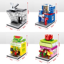 Classic city Mini street view building block fashion store Pepsi Cola Fruit flowers shop building block com.withlego kids toys