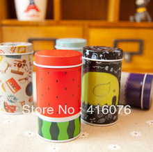 Free Shipping! 6pcs/lot Toothpicks Holder Mini Tin box Round Shape Candy Can Painted Metal Box Coin Saver Gift T1209(China)