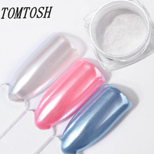 TOMTOSH 2g Diamond Pearl Powder Pearly White Nail Glitters Shine Nail Pigment Chrome Powder DIY Manicure Nail Art Decoration