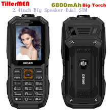 6800mAh Big large battery long standby phone big torch Speaker Dual sim GSM FM Senior man phone dustproof shockproof cell Phone(China)