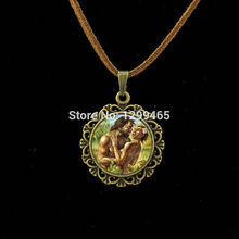 Souvenirs  gift Adam and Xia Wa leather necklace Classic Collection art picture pendant Jewelry your finish choice L 015