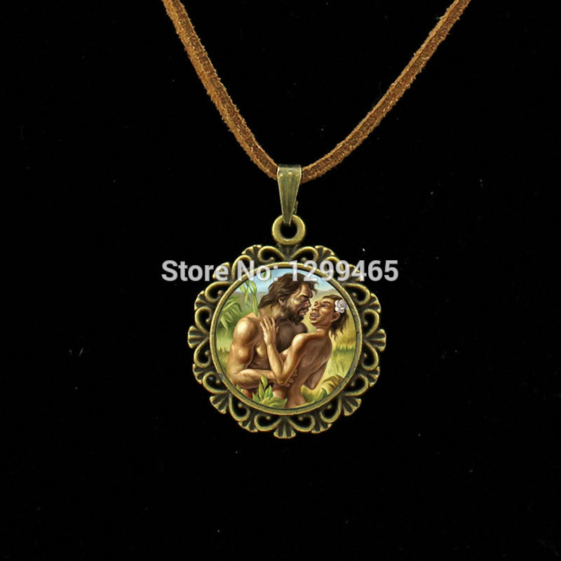 Souvenirs gift Adam and Xia Wa leather necklace Classic Collection art picture pendant Jewelry your finish choice L 015(China)