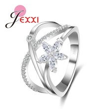Buy JEXXI Wholesale 925 Sterling Silver Wedding Rings Jewelry Fashion Flower Cubic Zircon Crystal Engagement Finger Ring Girl for $3.94 in AliExpress store