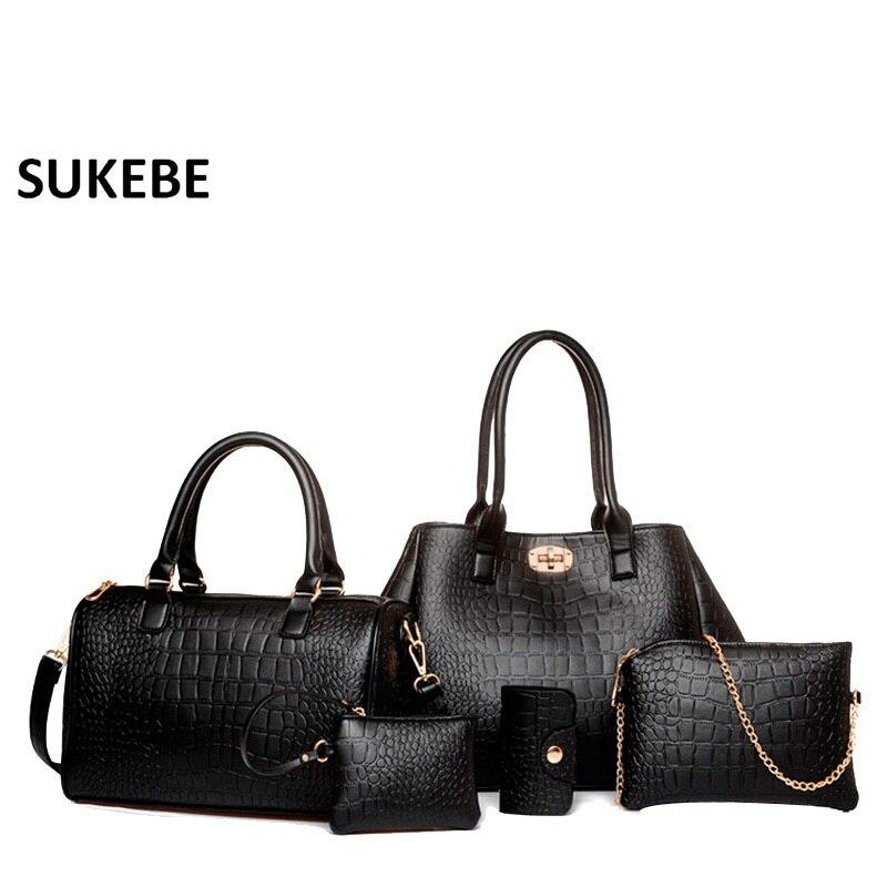 New Women Leather Handbag Sets 5pcs/set Crossbody Bag Artificial Skin Crocodile Leather Bag Fashion Designer Messenger Bag<br>