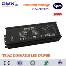 12V/24V/48V 100W constant Voltage TRIAC dimmable led driver dimming power supply lighting transformers converter power source