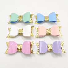20pc/lot PU Leather Bow Hair Clip Fashion Kid Pink White Purple Grip Gold Glitter Bowknot Hairpin Princess Kid Girl Barrette