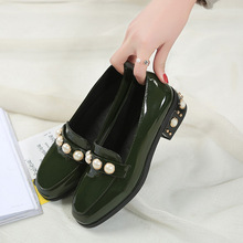 Spring New women square head  toe Single Shoes Woman Elegant Pearl Leather Shoes Low Heels Ballet  Flats thick heels