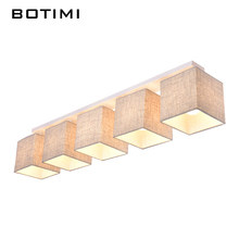 BOTIMI American Country Style Cloth Ceiling Light With Fabric Lampshade Surface Mount Lightings For Dining Living Room Bedroom