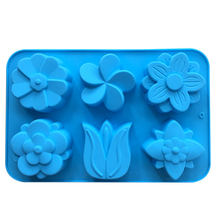 6 With Different Tulip Flowers Silicone Cake Mold Silicone Cake Mold Baking Diy Soap Mold Mold 1pc E151(China)