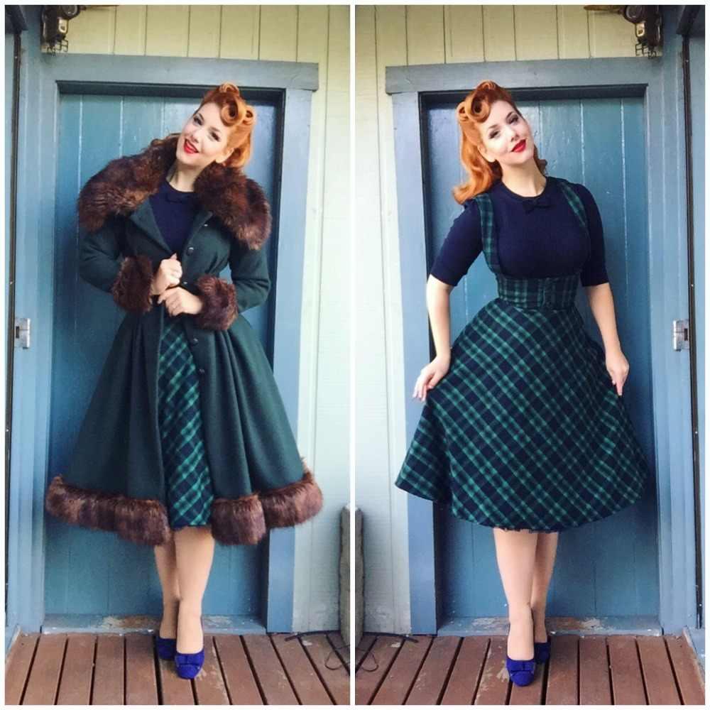 20- winter women vintage 50s swing midi brace skirt in green tartan pinup  suspender skirts e32f28b1d151