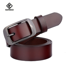 KAITESICZI fashion ladies belt wild trend 100% cow leather ladies day buckle belt pure leather lady brand belt