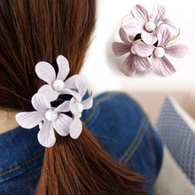 Hot 6 Colors Pearl Fashion Headbands Women Elastic Flowers Rope Accessories Elastic Hair Bands Korea jewelry