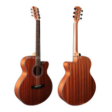 "(With video) High End 40"" Cutaway Electric Acoustic Guitar With Pickup,Full Mahogany Top/Body guitarra,nature matt+hard case(China)"
