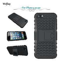 For iPhone 5s Case Heavy Duty Armor Shockproof Hard Silicone Rugged Rubber Phone Cover For Apple iPhone 5 Case 5s With Stand *<
