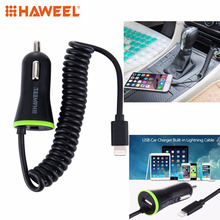 HAWEEL 5V 2.1A 8 pin USB Car Charger with Spring Cable for iPhone 6 & 6s For iPhone 6 Plus For 6s Plus iPhone 5 & 5S(China)