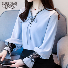 Buy 2018 new women tops fashion long sleeved blouses lace casual office lady women clothing chiffon shirts female blouses D473 30 for $12.93 in AliExpress store