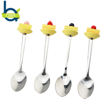 OBR 1Pcs Funny Stocked Stainless Steel Dinner Spoon With Cream Strawberry Top Cake Dessert Spoon Coffee Tea Stirrer tools(China)