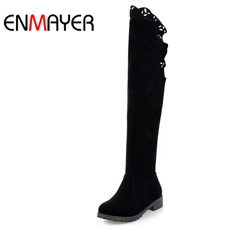 ENMAYER Winter Snow Boots Over-the-Knee Nubuck Shoes Round Toe Zippers Boots Platform Boots for Woman Fashion Boots for Ladies<br>