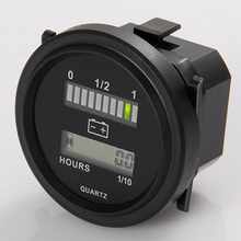 Round lcd hour meter with led battery indicator Gauge Gauge 12V 24V 36V 48V 72V for golf car tractor sweeper(China)