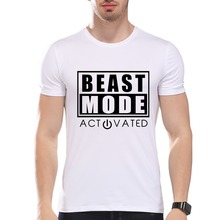 TEEHEART Men's Modal T-shirt Funny Beast Mode On/OFF Printed O-neck Short Sleeve Summer Casual Tee for Men LA267