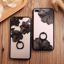 2016 New Luxury Flower case For iphone 7plus Lace Metal Ring Holder Stand phone cases For iphone 6 6s 6plus black case cover