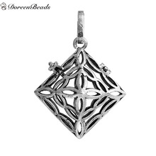 DoreenBeads Copper Wish Box Pendants Antique Silver Rhombus Filigree Can Open (Fit Bead Size: 14mm) 45mm  x 32mm, 1PC