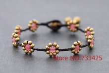 Daisy rose brass Bracelet Handmade woven wax cord with thai style brass bell closure bracelet for women 5pcs/lot(China)