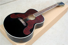 Factory Custom black body G 43 inch acoustic guitar with big red pearl pickguard,star inlay,can be customized