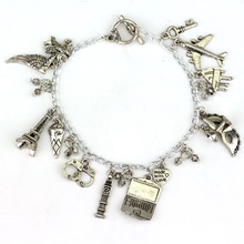 New Fashion Fifty Shades of Grey Charm Bracelet Jewelry feather & handcuffs & mask&plane& key Eiffel Tower men Pendant Bracelet