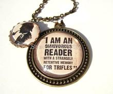 12pcs/lot Sherlock Holmes inspired necklace Sherlock Literary Quote Necklace Book Lover Gift(China)