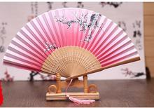 10pcs Ms silk folding fan Japanese plum cherry blossom bamboo fan wholesale two green brown bone with silk female fan