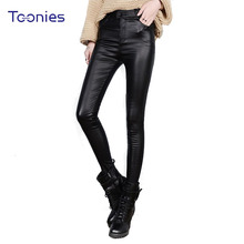 Buy New Fashion Female PU Leather Stretch Pencil Pants 2017 Autumn Women Long Slim Button Pantalon Leggings Mujer Skinny Trousers for $11.74 in AliExpress store