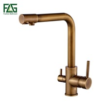 FLG 100% Brass Antique Mixer Swivel Drinking Water Faucet 3 Way Water Filter Purifier Kitchen Faucets For Sinks Taps 242-33C