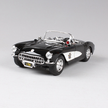 1:18 diecast Car 1957 Corvette Roadster Coupe Black Classic Cars 1:18 Alloy Car Metal Vehicle Collectible Models toys For Gift